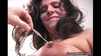 Nasty brunette hoe gets naked and bound