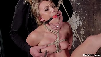 Blonde in hogtie pussy vibrated and fingered