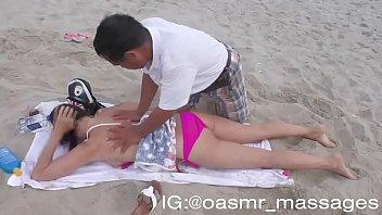 ASMR Topless Massage on Beach