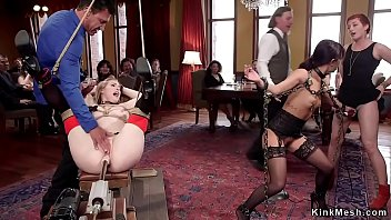 Chained and tied up slaves group anal