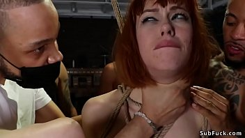 Bound redhead double penetration banged