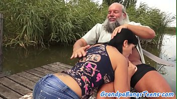 Lovely babe sucking and riding grandpas dick
