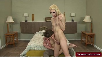 Small tits tranny Holly Parker sucks a cock and anal reamed