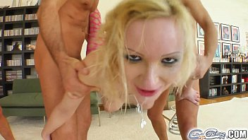 Cum For Cover Blonde girl gets face plastered with 4 cumshots thumbnail