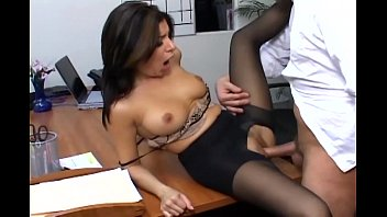 Big tit secretary in black nylons - Busty secretary in sheer pantyhose has office sex