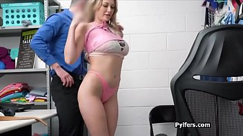 Kleptomaniac blonde craves for officers cock