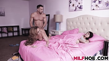 Stepmom And Stepdaughter Get A Massive Dick