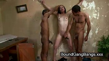 Babe choked with wet rag and gangbanged