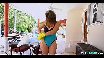 She cleans my pool in bra and panties
