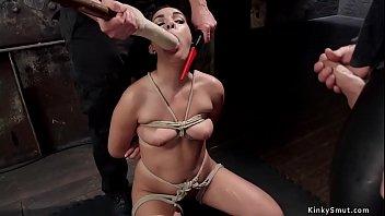 Slave in suspension gets cunt eaten