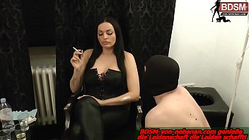 german slave must swallow cigarette for his femdom domina