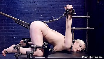 Locked on knees and shoulders sub toyed
