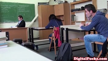 Etiquette class teen mid michigan - Brunette schoolgirl fucks cock in class