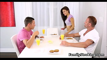 Family Threesome - Step Dad, Daughter and Son - FamilyStroking.com