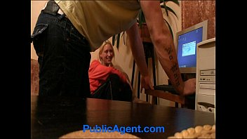 PublicAgent Sexy Blonde porn fan Eva rides me on the sofa