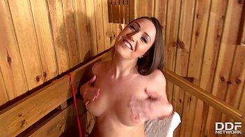 Russian Bikini Babe Jessica Night Creams During POV Footjob Porn in Sauna