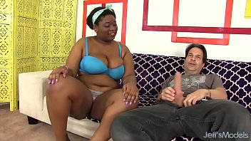 Chubby ebony girl gets fucked - Thick big boobed black girl takes white cock