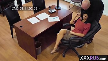 Busty secretary used by a perverted big hard cock guy