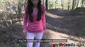 Lesbian eating outdoor Girlfriends eat pussy and make a sextape in the woods