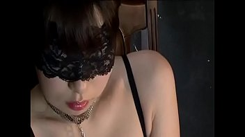Sexy Asian Girl Wearing Black Blindfold and Panties