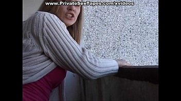 Hot amateur girl getting her shaved pussy drilled on balcony