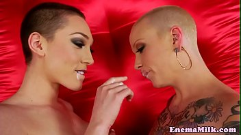 Bald enema lezy Lily Labeau milky ass toyed
