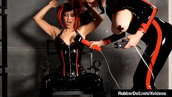 Latex Dom RubberDoll Vibrates Her Clit With Shae Fatale!