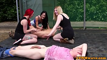 British femdoms jerking subs in outdoor race