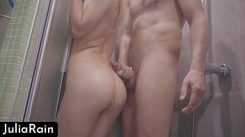 Babe Masturbate Pussy And Handjob Dick In The Bathroom