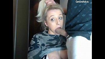 Deepthroat blue eyes blonde cam
