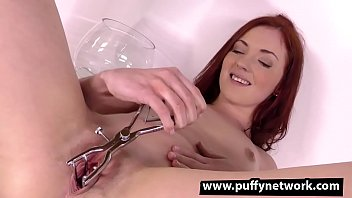 Piss Soaked Redhead Fucks Herself