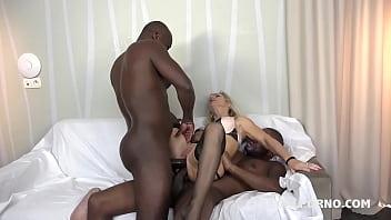 Granny whore Marina Beaulieu fucked like a bitch by 2 Black cocks