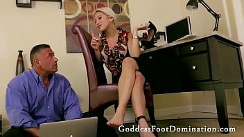 Coworker Under Her Feet