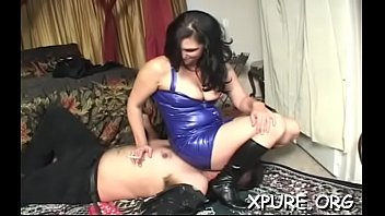 Sexy trampling action with a cutie tying her weak man up
