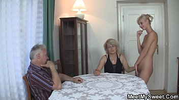 Blonde GF family threesome