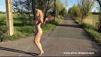 Marceu naked Flashing naked on the road
