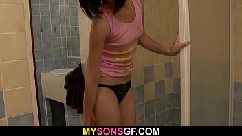Father teen son After shower she gets screwed by her bfs dad