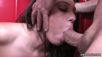 Endearing brunette slurps a big hard wang