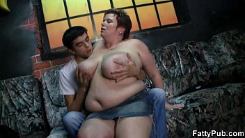 Hot fat lady enjoys young meat