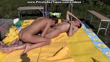 Horny couple fucking on picnic صورة