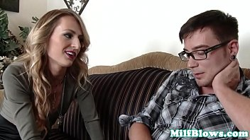 Slender tattooed cougar fucks younger cock