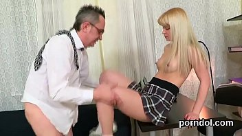 Cuddly college girl was seduced and reamed by her senior teacher
