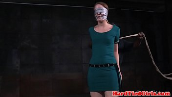 Bound bdsm babe weeps for release from rope