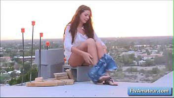 Sexy natural busty amateur teen Aveline finger fuck her juicy pussy outdoors