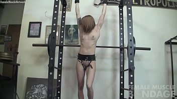 Bound redhead fitness girl vibed and fucked