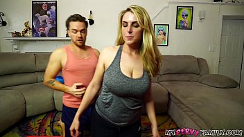 Tit fuck cum shot video - Busty mom gets stretched out by big dick son