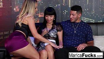 Asian bang nude A horny couple bangs their waitress at a night club