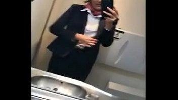 Real Stewardess wanks on Flight-1
