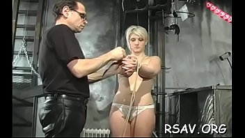 Breasty honey gets nipple-tortured in s&m style scene