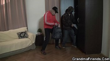 Old Mom And Boys Teen Threesome